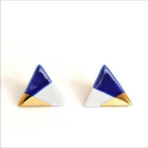 Gold dipped porcelain triangle stud earrings - ASH